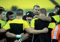 The Hurricanes huddle before the Super Rugby quarterfinal match between the Hurricanes and Sharks at Westpac Stadium, Wellington, New Zealand on Saturday, 23 July 2016. Photo: Dave Lintott / lintottphoto.co.nz