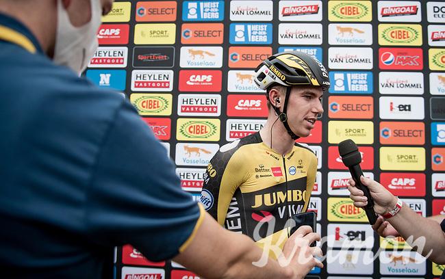 race winner Pascal Eenkhoorn (NED/Jumbo-Visma) interviewed post-race<br /> <br /> Heylen Vastgoed Heistse Pijl 2021 (BEL)<br /> One day race from Vosselaar to Heist-op-den-Berg (BEL/193km)<br /> <br /> ©kramon