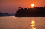 Dramatic sunset at Burnt Jacket Point, Boulton Cove. Moosehead Lake, Maine.