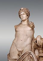 Detail of a second Century Roman statue of Apollo excavated from the Theatre of Carthage. The Bardo National Museum, Tunis, Tunisia. Inv No C939. v