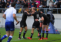 Aaron Smith and Damien McKenzie congratulate Jordie Barrett on his try during the Bledisloe Cup rugby union match between the New Zealand All Blacks and Australia Wallabies at Sky Stadium in Wellington, New Zealand on Sunday, 11 October 2020. Photo: Dave Lintott / lintottphoto.co.nz