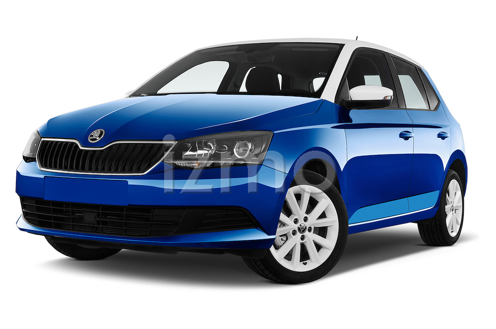 Stock pictures of low aggressive front three quarter view of a 2015 Skoda Fabia Ambition 5 Door Hatchback Low Aggressive