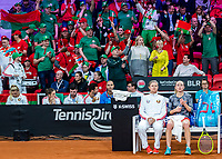 The Hague, The Netherlands, Februari 7, 2020,    Sportcampus, FedCup  Netherlands -  Balarus,  The Belarus bench with their supporters behind them<br /> Photo: Tennisimages/Henk Koster
