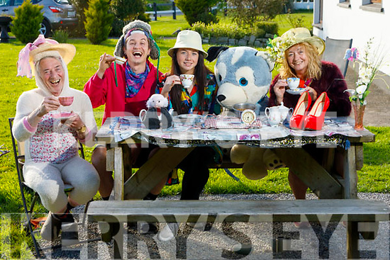 The Fleming family hosting the Mad Hatter tea party as they are Doing It For Dan at their home on Monday.<br /> L to r: Derry, Tadgh, Mary Ann and Maureen Fleming
