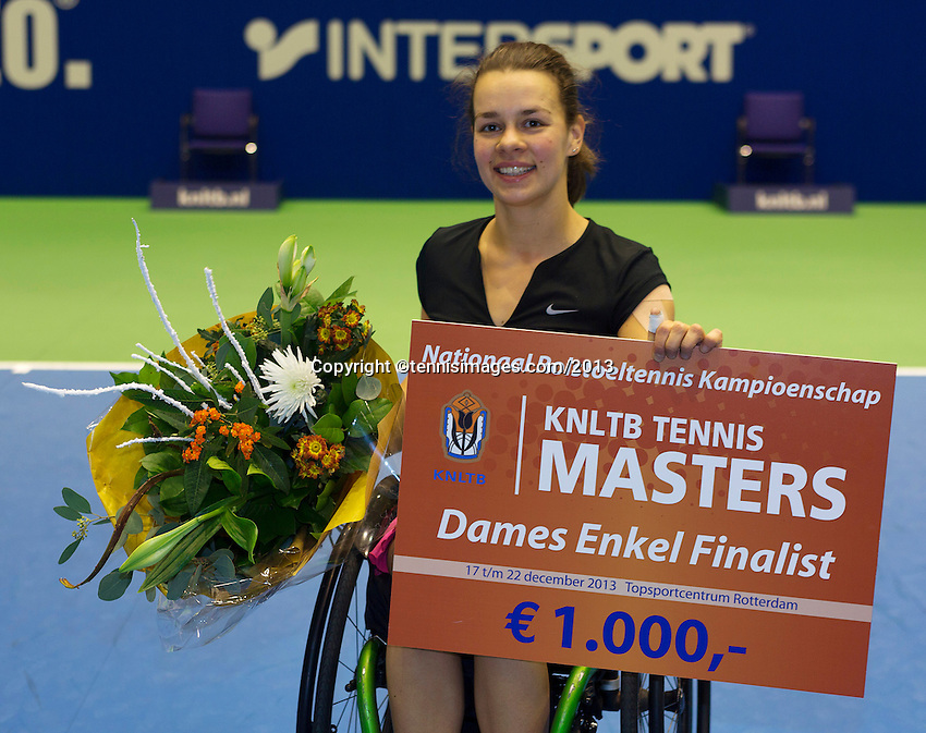 22-12-13,Netherlands, Rotterdam,  Topsportcentrum, Tennis Masters, Wheelchair final, runner up  Marjolein Buis(NED)<br /> Photo: Henk Koster