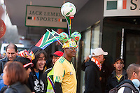 A South African soccer fan walks along the Cape Town fan walk before the 2010 FIFA World Cup semi-final between the Netherlands and Uruguay at Greenpoint Stadium in Cape Town, South Africa on Tuesday, July 6, 2010.  Netherlands defeated Uruguay 3-2.