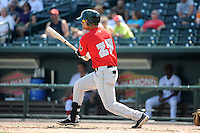 Fort Wayne TinCaps outfielder Luis Domoromo (29) during a game against the Great Lakes Loons on August 18, 2013 at Dow Diamond in Midland, Michigan.  Fort Wayne defeated Great Lakes 4-3.  (Mike Janes/Four Seam Images)