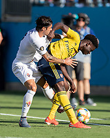 CHARLOTTE, NC - JULY 20: Bukayo Saka #77 and Lorenzo Venuti #2 battle for the ball during a game between ACF Fiorentina and Arsenal at Bank of America Stadium on July 20, 2019 in Charlotte, North Carolina.