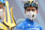 Race leader Maglia Azzura Wout Van Aert (BEL) Team Jumbo-Visma at sign on before the start of Stage 3 of Tirreno-Adriatico Eolo 2021, running 219km from Monticiano to Gualdo Tadino, Italy. 12th March 2021. <br /> Photo: LaPresse/Gian Mattia D'Alberto | Cyclefile<br /> <br /> All photos usage must carry mandatory copyright credit (© Cyclefile | LaPresse/Gian Mattia D'Alberto)