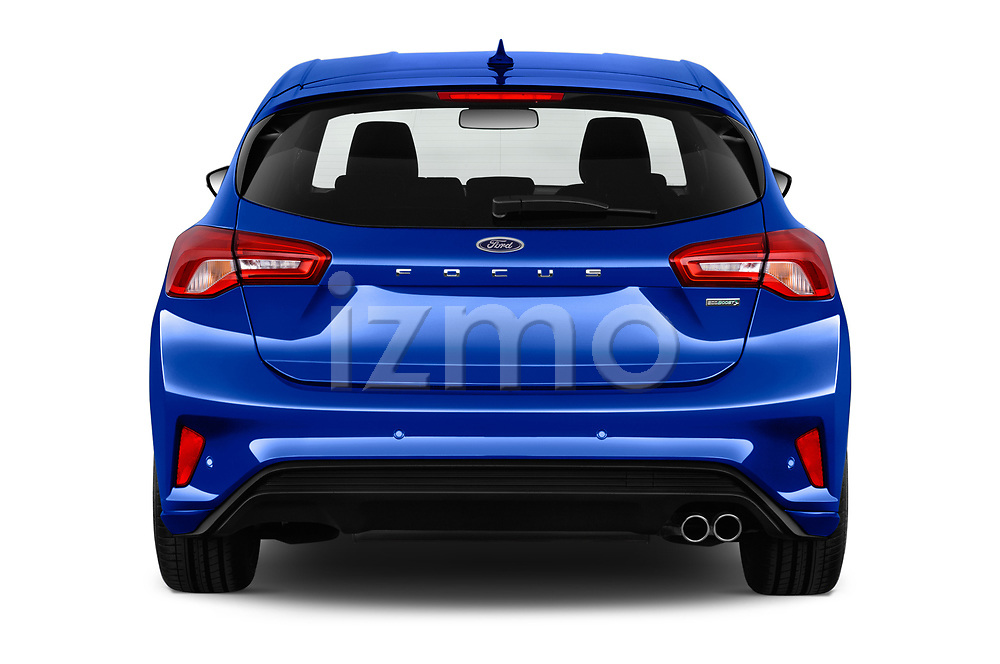 Straight rear view of a 2018 Ford Focus ST Line Business 4 Door Hatchback stock images