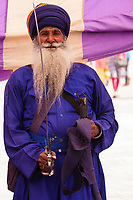 Asia,India,Punjab, Anandpur Sahib,  Portrait of an  Akali Nihang ( Sikh warrior-priest ), to the Holla Mohalla annual festival