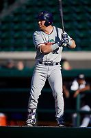 Fort Myers Miracle designated hitter Taylor Grzelakowski (22) at bat during a game against the Lakeland Flying Tigers on August 7, 2018 at Publix Field at Joker Marchant Stadium in Lakeland, Florida.  Fort Myers defeated Lakeland 5-0.  (Mike Janes/Four Seam Images)