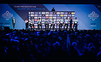 Team SKY at the pre-race team presentation in the legendary Kuipke Velodrome<br /> <br /> Omloop Het Nieuwsblad 2018<br /> Gent › Meerbeke: 196km (BELGIUM)