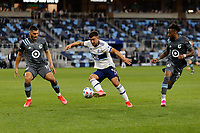 SAINT PAUL, MN - MAY 12: Lucas Cavallini #9 of Vancouver Whitecaps FC during a game between Vancouver Whitecaps and Minnesota United FC at Allianz Field on May 12, 2021 in Saint Paul, Minnesota.