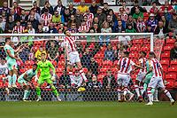 11th September 2021;  Bet365 Stadium, Stoke, Staffordshire, England; EFL Championship football, Stoke City versus Huddersfield Town; Harry Souttar of Stoke City heads the ball clear