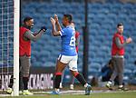 21.02.2021 Rangers v Dundee Utd: Alfredo Morelos celebrates his goal with Jermain Defoe