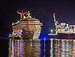 The crippled Carnival Triumph cruse ship with 3,143 passengers and a crew of 1,086  is towed past Dauphin Island, Alabama, USA, 14 February 2013. The 900 foot long (247 meter) ship lost power after an engine fire on 10 February as it was returning to Galveston, Texas, USA from Cozumel, Mexico. Passengers have reported squalid conditions as sewage systems failed and food supplies dwindled. <br />  (CREDIT: Mark Wallheiser for EPA) ©2013 Mark Wallheiser