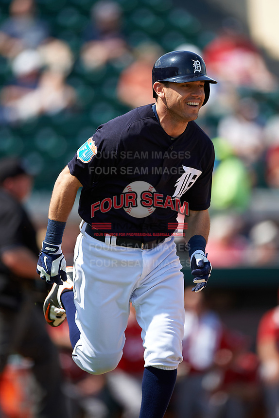Detroit Tigers second baseman Ian Kinsler (3) runs to first base during an exhibition game against the Florida Southern Moccasins on February 29, 2016 at Joker Marchant Stadium in Lakeland, Florida.  Detroit defeated Florida Southern 7-2.  (Mike Janes/Four Seam Images)