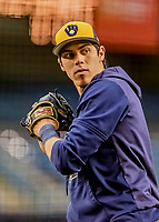 25 March 2019: Milwaukee Brewers outfielder Christian Yelich warms up prior to an exhibition game against the Toronto Blue Jays at Olympic Stadium in Montreal, Quebec, Canada. The Brewers defeated the Blue Jays 10-5 in the first of two MLB pre-season games in the former home of the Montreal Expos. Mandatory Credit: Ed Wolfstein Photo *** RAW (NEF) Image File Available ***