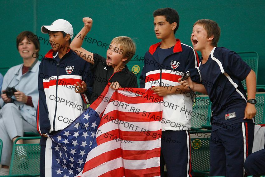 Tenis, World Championship U-14.Medal ceremony.Finals, boys and girls.from left, Jordan Belga, Noah Rubin and Stefan Kozlov.Prostejov, 07.08.2010..foto: Srdjan Stevanovic/Starsportphoto ©