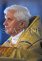 Pope Benedict XVI takes part in a candlelit Corpus Domini procession between the basilicas San Giovanni in Laterano and Santa Maria Maggiore in Rome May 22, 2008.