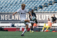 FOXBOROUGH, MA - JULY 25: USL League One (United Soccer League) match. Devin Boyce #20 of Union Omaha controls the ball during a game between Union Omaha and New England Revolution II at Gillette Stadium on July 25, 2020 in Foxborough, Massachusetts.