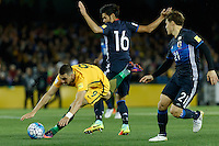 October 11, 2016: TOMI JURIC (9) of Australia is fouled during a 3rd round Group B World Cup 2018 qualification match between Australia and Japan at the Docklands Stadium in Melbourne, Australia. Photo Sydney Low Please visit zumapress.com for editorial licensing. *This image is NOT FOR SALE via this web site.