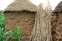Traditional hut, sticks, millet. Mora, Extreme North, Cameroon, Africa.