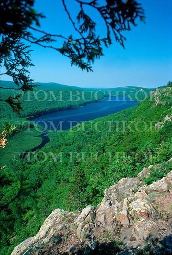 Lake of the Clouds, Porcupine Mountain Wilderness State Park, Ontonagon county, Upper Peninsula of Michigan. A view from the east end of the lake duing summer.