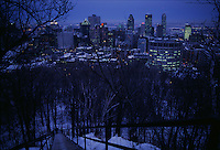 Montreal photographed from Mount Royal on an icy winter evening.
