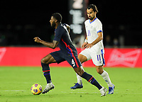 FORT LAUDERDALE, FL - DECEMBER 09: Mark McKenzie #4 of the United States moves with the ball during a game between El Salvador and USMNT at Inter Miami CF Stadium on December 09, 2020 in Fort Lauderdale, Florida.