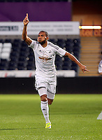 Pictured: Kenji Gorre of Swansea celebrating his goal making the score 2-1 to his team Wednesday 13 May 2015<br /> Re: Swansea City FC U21 v Huddersfield Town U21 at the Liberty Stadium, south Wales, UK