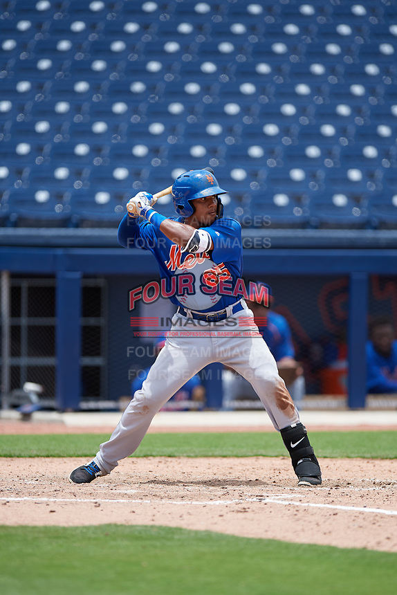GCL Mets shortstop Gregory Guerrero (85) at bat during the second game of a doubleheader against the GCL Nationals on July 22, 2017 at The Ballpark of the Palm Beaches in Palm Beach, Florida.  GCL Mets defeated the GCL Nationals 4-1.  (Mike Janes/Four Seam Images)