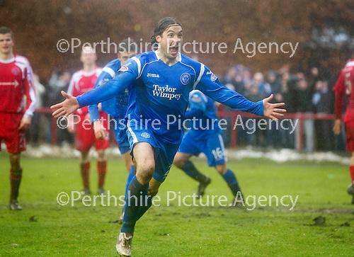 Brechin v St Johnstone....12.03.11  Scottish Cup Quarter Final.Danny Invincibile celebrates his goal.Picture by Graeme Hart..Copyright Perthshire Picture Agency.Tel: 01738 623350  Mobile: 07990 594431