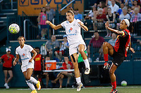 Rochester, NY - Saturday July 23, 2016: Mandy Laddish, Jessica McDonald during a regular season National Women's Soccer League (NWSL) match between the Western New York Flash and FC Kansas City at Rochester Rhinos Stadium.