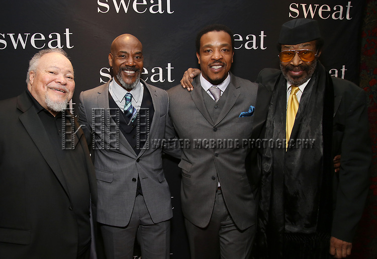 """Stephen McKinley Henderson, John Earl Jelks, Russell Hornsby and Anthony Chisholm attend the after party for the Broadway Opening Night of """"Sweat"""" at Brasserie 8 1/2 on March 26, 2017 in New York City."""