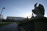 Newcastle United 2 Watford 1, 16/12/2006. St James Park, Premier League. Newcastle United take on Watford (yellow shirts) in a Premiership match at St. James' Park, Newcastle. Both teams were struggling near the bottom of the table with the newly-promoted visitors occupying one of the three relegation at the time of the match. Newcastle won by 2 goals to 1, both being scored by Obafemi Martins. Hameur Bouazza had equalised before United's late winner. Photo shows the exterior to St. James Park which is the city centre. Photo by Colin McPherson.