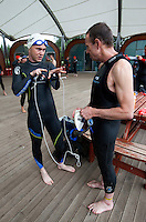 17 AUG 2011 - NORWICH, GBR - Iain Dawson (left) explains the help he needs from a potential guide before a Tri-Anglia club aquathlon at Whitlingham Outdoor Centre (PHOTO (C) NIGEL FARROW)