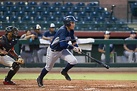AZL Padres 2 right fielder Tirso Ornelas (33) starts down the first base line against the AZL Giants on July 13, 2017 at Scottsdale Stadium in Scottsdale, Arizona. AZL Giants defeated the AZL Padres 2 11-3. (Zachary Lucy/Four Seam Images)