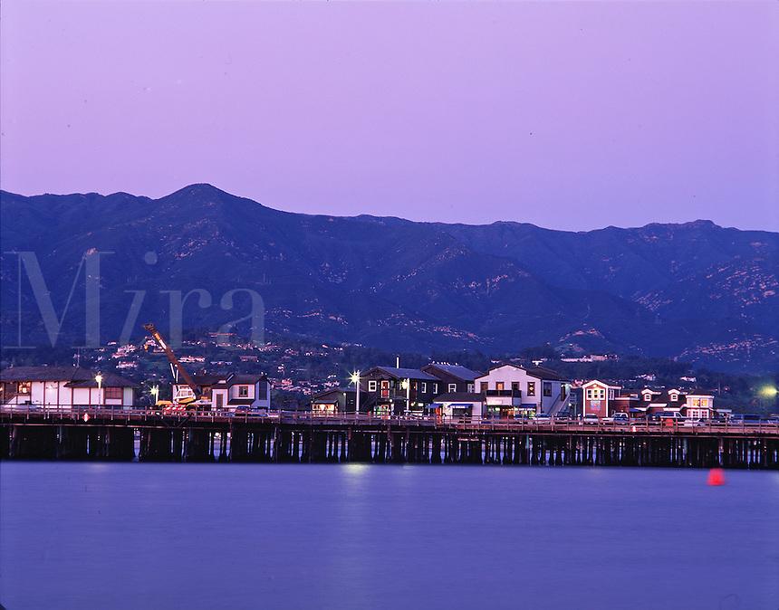 The Stearns Wharf at sunset. Santa Barbara.