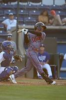 Glenallen Hill Jr. (8) of the Visalia Rawhide bats against the Rancho Cucamonga Quakes at LoanMart Field on June 17, 2021 in Rancho Cucamonga, California. (Larry Goren/Four Seam Images)