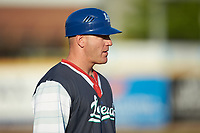 Lexington Legends manager Scott Thorman (35) coaches third base during the game against the West Virginia Power at Appalachian Power Park on June 7, 2018 in Charleston, West Virginia. The Power defeated the Legends 5-1. (Brian Westerholt/Four Seam Images)