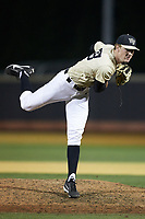 Wake Forest Demon Deacons relief pitcher William Fleming (38) follows through on his delivery against the Liberty Flames at David F. Couch Ballpark on April 25, 2018 in  Winston-Salem, North Carolina.  The Demon Deacons defeated the Flames 8-7.  (Brian Westerholt/Four Seam Images)
