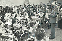 Prime Minister Pierre Elliott Trudeau speaks to the patients at Bloorview Children's Hospital for chronically disabled children in Toronto.