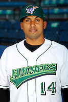 Jamestown Jammers catcher Jobduan Morales #14 poses for a photo before a game against the Mahoning Valley Scrappers at Russell E. Diethrick Jr Park on September 2, 2011 in Jamestown, New York.  Mahoning Valley defeated Jamestown 8-4.  (Mike Janes/Four Seam Images)