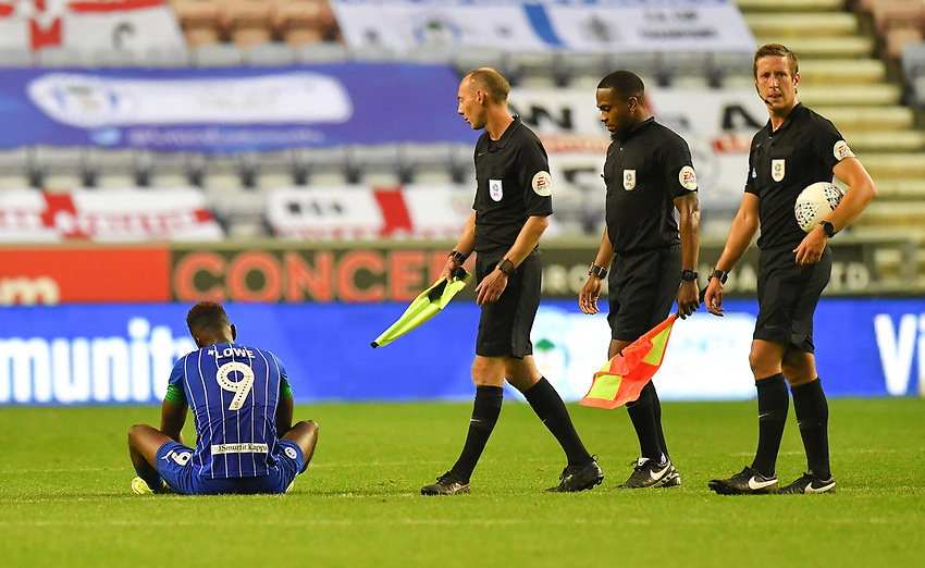 A dejected Wigan Athletic's Jamal Lowe<br /> <br /> Photographer Dave Howarth/CameraSport<br /> <br /> The EFL Sky Bet Championship - Wigan Athletic v Fulham - Wednesday July 22nd 2020 - DW Stadium - Wigan<br /> <br /> World Copyright © 2020 CameraSport. All rights reserved. 43 Linden Ave. Countesthorpe. Leicester. England. LE8 5PG - Tel: +44 (0) 116 277 4147 - admin@camerasport.com - www.camerasport.com