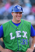 Manager Scott Thorman (35) of the Lexington Legends in a game against the Columbia Fireflies on Saturday, April 22, 2017, at Spirit Communications Park in Columbia, South Carolina. Lexington won, 4-0. (Tom Priddy/Four Seam Images)