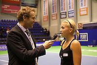 18-12-10, Tennis, Rotterdam, Reaal Tennis Masters 2010, Speaker Robert Reimering stelt vragen aan Michaella Krajicek