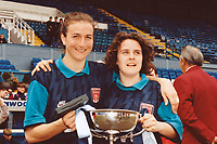 Marianne Spacey (L) of Arsenal celebrates with the Cup during Arsenal Ladies vs Liverpool Ladies, FA Women's Cup Final Football at Prenton Park on 30th April 1995