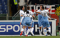 Calcio, Serie A: Lazio vs Milan. Roma, stadio Olimpico, 24 gennaio 2015.<br /> Lazio's Miroslav Klose, second from right, celebrates with teammates after scoring during the Italian Serie A football match between Lazio and AC Milan at Rome's Olympic stadium, 24 January 2015.<br /> UPDATE IMAGES PRESS/Riccardo De Luca